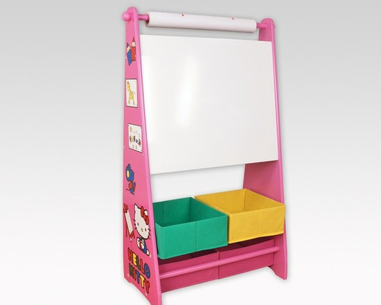 Kids Furniture - Give your future artist a headstart with the Hello Kitty Art Easel. Little artists can create using the erasable chalkboard, or by pulling down paper off the built-in roller. Fabric storage bins allow for easy storage of all the art supplies. With the lively Hello Kitty artwork on the side of the easel, your little ones will be inspired.