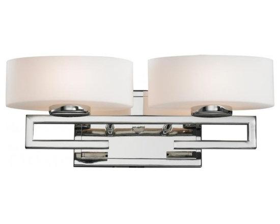 Joshua Marshal - Two Light Chrome Matte Opal Glass Vanity - Finish: Chrome