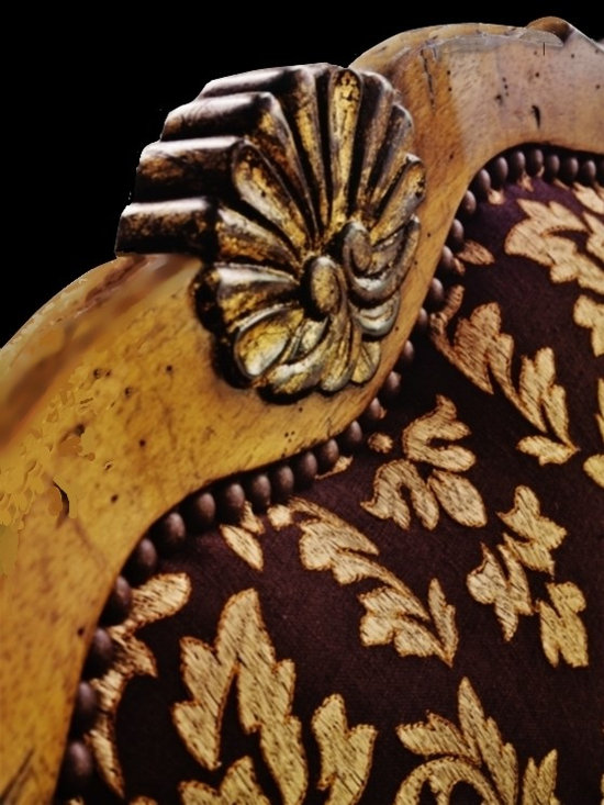 Cool Stuff - Detail of carving, finish, fabric and nail-head trim on the inside  back of the Country Manor Dining  Chair.