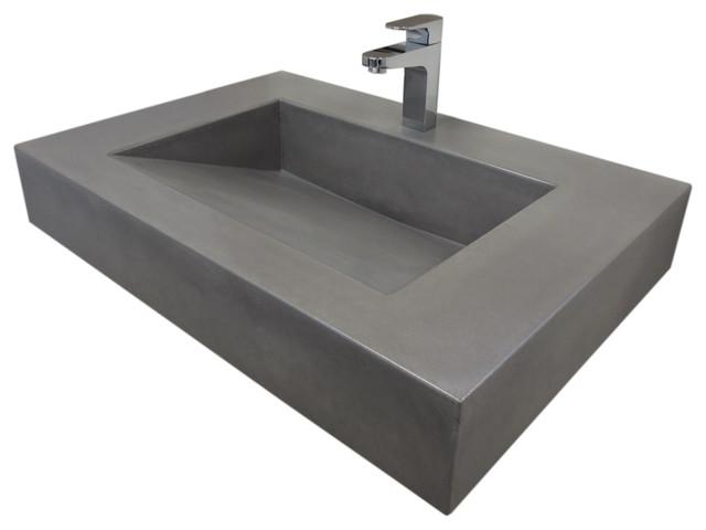 "30"" ADA Floating Concrete Sink Graphite modern bathroom sinks"