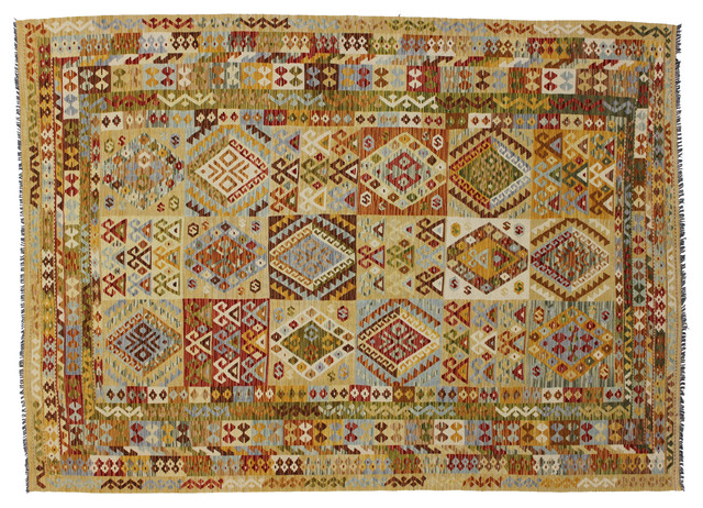 Consigned - Handwoven wool vintage Afghan Shirvan Kilim modern-rugs