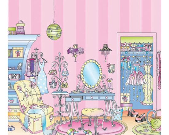 York Wallcoverings - Girls Pink Dressing Room Large Prepasted Wall Mural - Features: