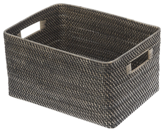 Rectangular Rattan Storage Basket, Black Antique - Contemporary - Baskets - other metro - by KOUBOO