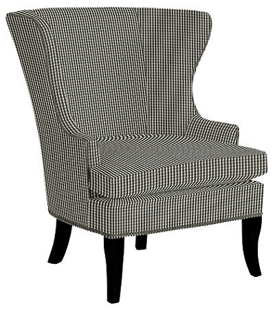 Thurston Wing Chair With Pewter Nailheads Small Check
