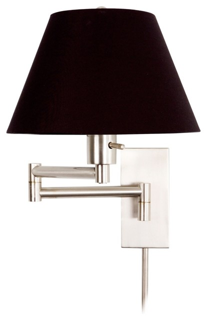 Black Wall Lamp Shades : Monroe II Black Shade Plug-In Swing Arm Wall Light - Traditional - Lamp Shades - by Lighting ...