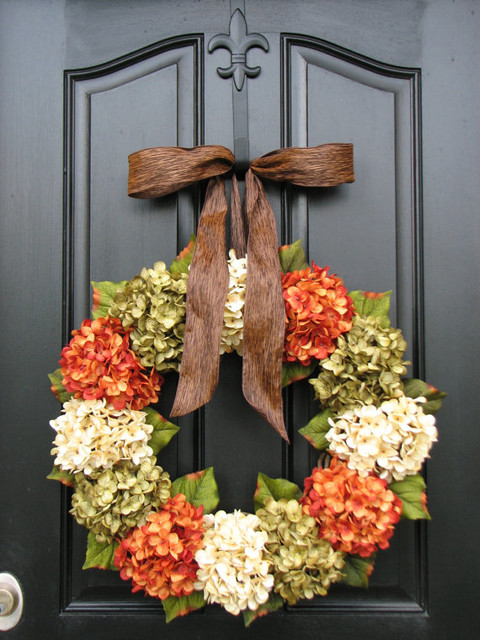 Fall hydrangea front door wreath by two inspire you Fall autumn door wreaths