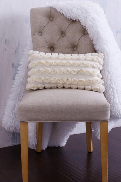 Cream Textured Rosette Pillow Farmhouse Bed Pillows