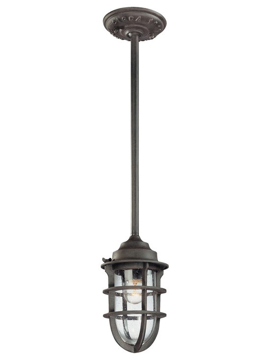Indoor-Outdoor Nautical Caged Pendant Light Fixture - The Wilmington outdoor collection illuminates your exterior with nautical style. This hanging light design recalls boat light aesthetics with authentic foundry embossed canopy. Crafted from cast aluminum and presented in a nautical rust finish. Clear seeded glass adds extra appeal. Includes hang-straight canopy and four adjustable downrods. An attractive design for lighting your outdoor spaces.