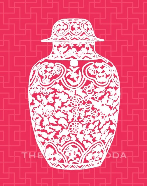 Chinoiserie Ginger Jar on Red Giclee by The Pink Pagoda asian-artwork