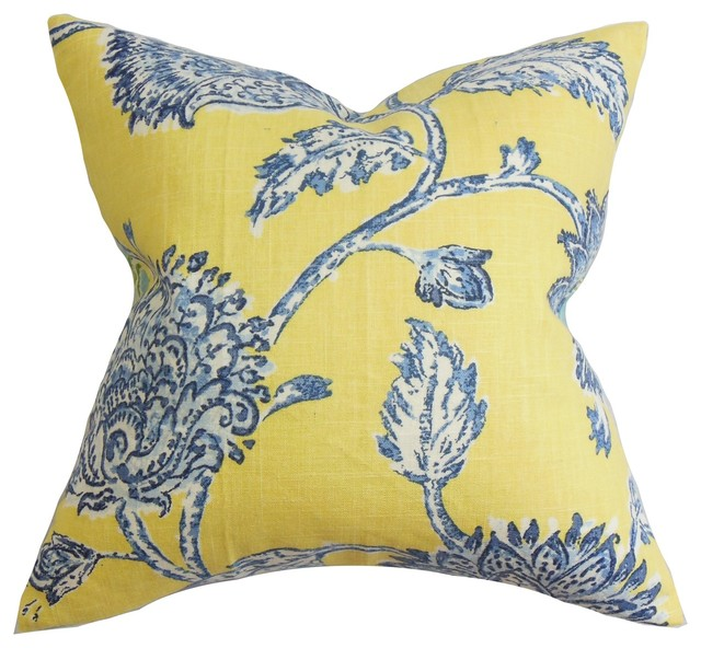Throw Pillows Yellow And Blue : Behati Floral Pillow Blue Yellow 18
