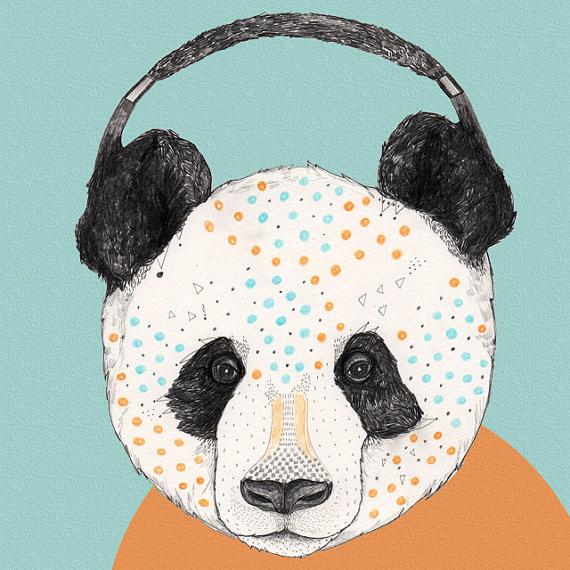Polkadot Panda Print By Sandra Dieckmann contemporary-nursery-decor