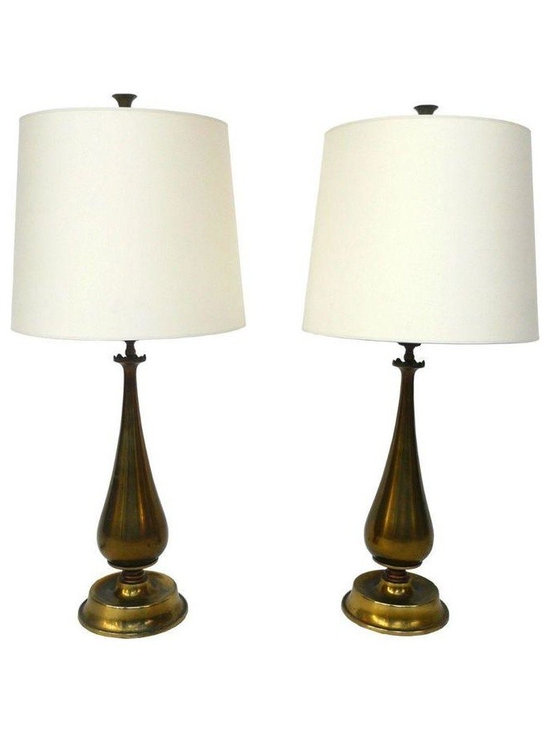 """Pre-owned 1940's Brass Table Lamps - A Pair - These tear-drop-shaped 1940's table lamps are newly rewired and paired with new parchment shades. The brass bases have a beautiful bronze-like luster and age-earned patina that nicely complement the light.  Each lamp requires a single Edison screw bulb.    Dimension of each lamp:  30 1/2"""" height, 14"""" diameter of shade."""