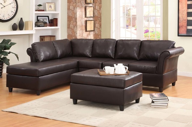 Homelegance Modern Dark Brown Leather Leather Sofa Couch Chaise contemporary sectional sofas los angeles