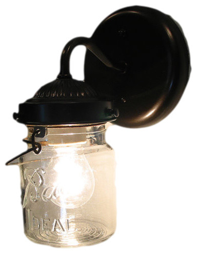 Antique Farmhouse Wall Sconces : Vintage Mason Jar Sconce Light, Satin Nickel - Farmhouse - Wall Sconces - by The Lamp Goods