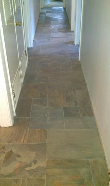 Floor - Versailles Pattern Gauged Rustic Gold Slate contemporary