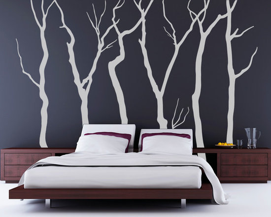 Winter Forest Decal with 6 Trees - Original design © 2012 Wall Definition.