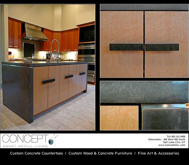 Custom Designed Furniture, Concrete Kitchen Islands, Master Bath & Flooring