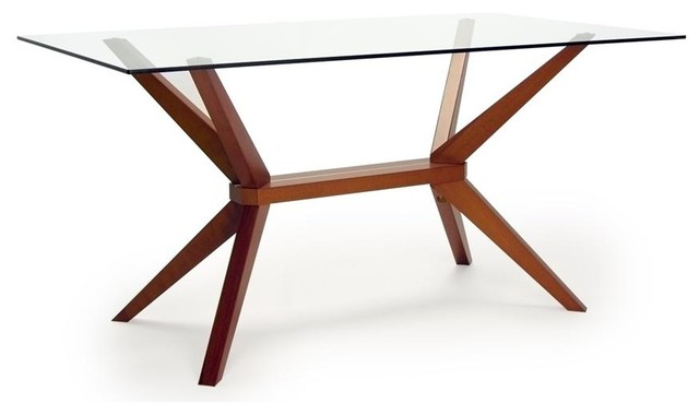 Glass Top Dining Table In Warm Cherry Contemporary Dining Tables