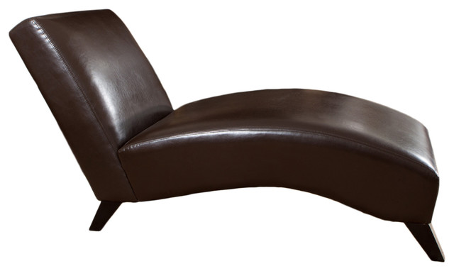 Brisbane Curved Lounge Chair In Brown Leather Transitional Indoor Chaise