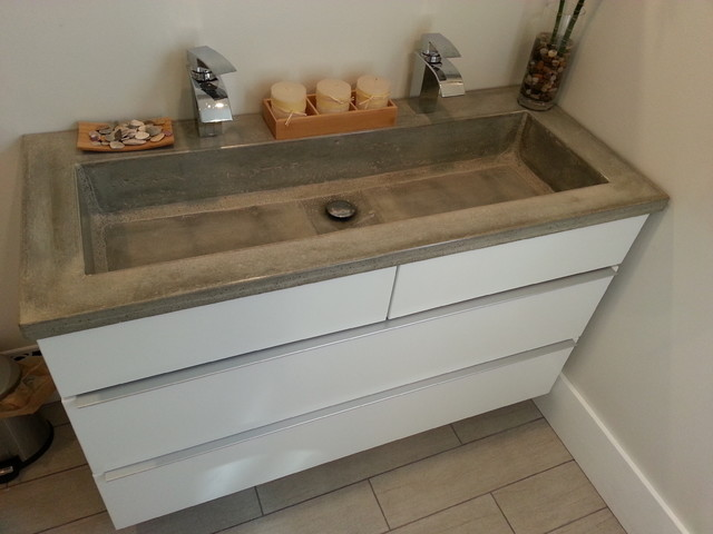 Bathroom vanity concrete countertop with rectangular ...
