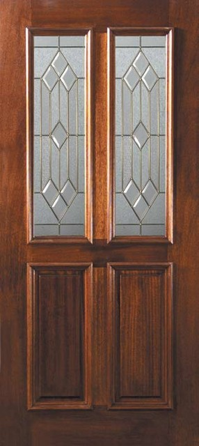 Prehung single door 80 wood mahogany dover 2 panel twin for Single front doors with glass
