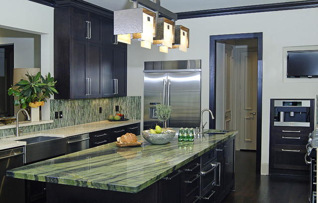 Contemporary Kitchen with green granite and backsplash contemporary-kitchen