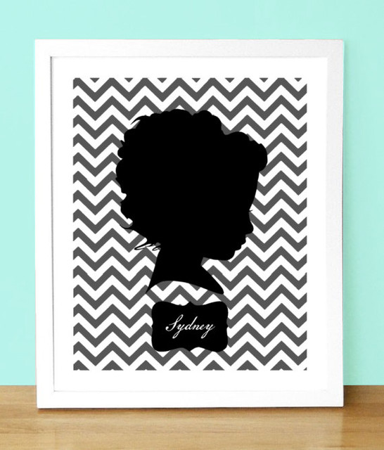 Custom Silhouette Portrait with Chevrons by Jennifer Alexis Design modern nursery decor