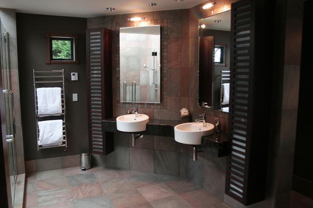 Classic vanity units for bathroom - Island Stone Copper Quartztic Slate Bathroom With Solid