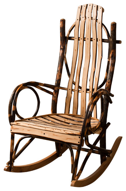 Amish Made Hickory Rocker Live Edge Slats Without: what are chairs made of