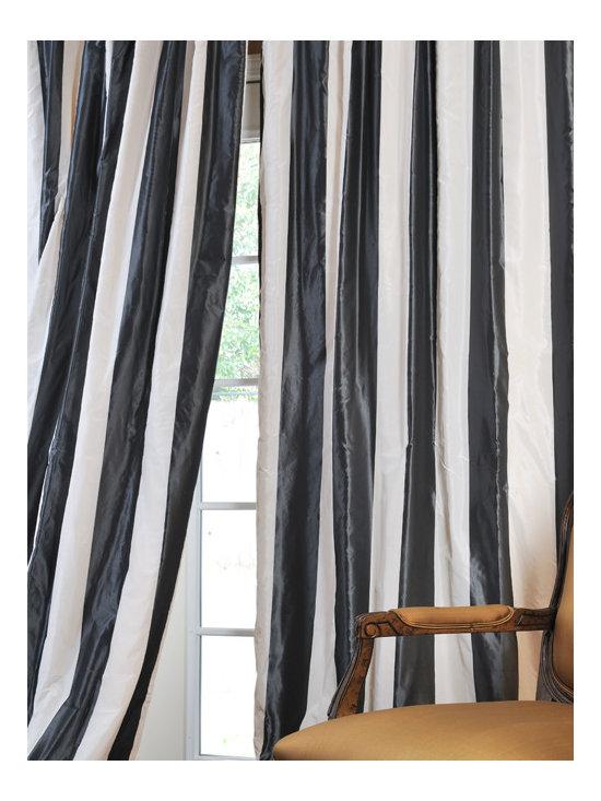 Presidio Faux Stripe Silk Taffeta Curtains -