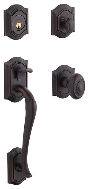 Baldwin Estate 85327 Bethpage Handleset, Venetian Bronze - Keyed Entry traditional-door-hardware