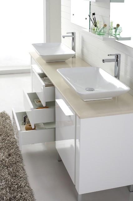 Freestanding double basin white bathroom vanities - Freestanding double bathroom vanity ...