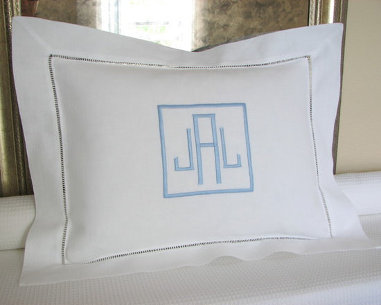 "Boutross - Monogrammed Boudoir Sham - Hemstitched border pillow, embroidered with monogram, name or name with date. Washable and comes with a pillow insert. Measures 12"" x 16"" and has a 2 inch flange. Cotton/Linen Blend."