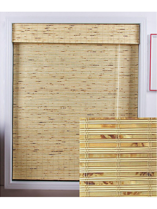 Safe-er-Grip - Petite Rustique Bamboo Roman Window Shade (29 in. x 98 in.) - Stunning natural bamboo construction lends a warm,appealing touch to your home decor. This bamboo is carefully woven to filter light in.