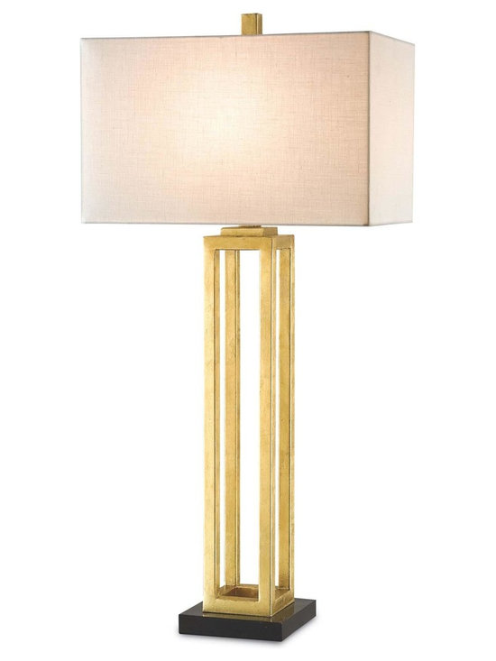 "Currey & Company Westlake Table Lamp in Gold Leaf - The Currey & Company Westlake Table Lamp Features a Contemporary Gold Leaf Finish. Product Dimensions: 34"" High."