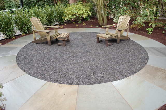 limestone and crushed rock patio modern patio