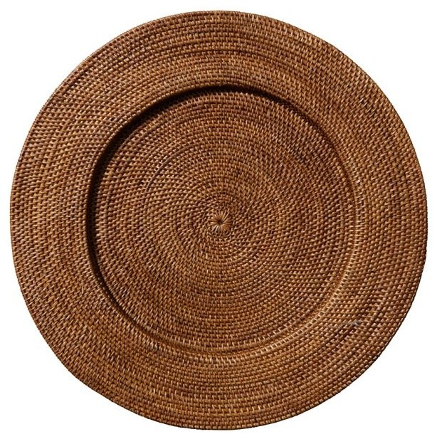 Tava Round Charger, Honey Stain traditional-charger-plates