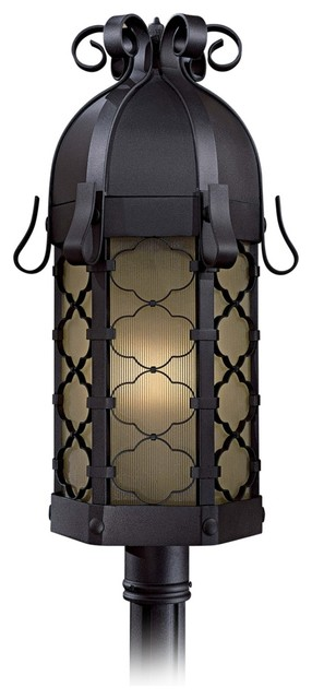 Country - Cottage Montalbo 28 1/4&quot; High Black Outdoor Post Light traditional outdoor lighting