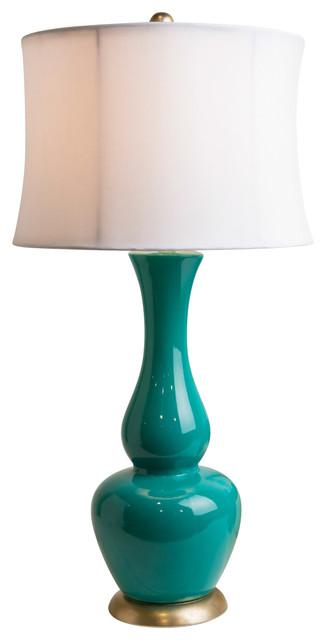 Deep Turquoise Retro Beach Lamp beach-style-table-lamps