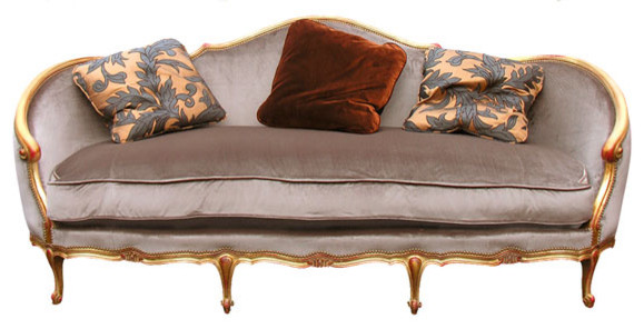 Carved Wood Sofa with Antiqued Gold Finish sofas