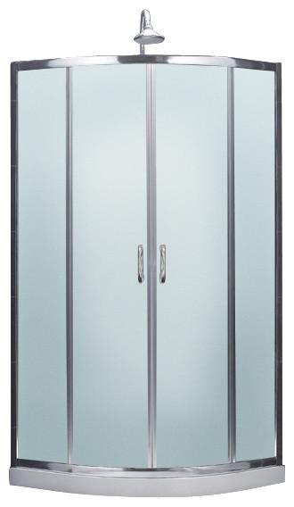 Prime Frameless Sliding Shower Enclosure, Base and Qwall-4 Shower Backwalls Kit modern-showerheads-and-body-sprays