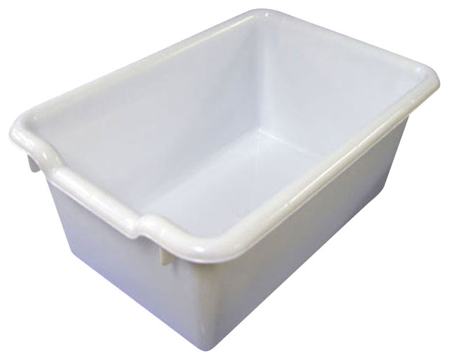 Ecr4Kids Scoop Front Plastic Tote Storage Bins White Pack