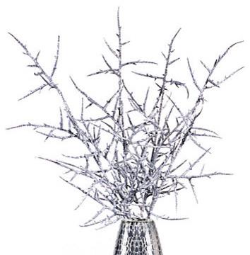 Z Gallerie Glitter Thorn Branch Silver Set Of 3