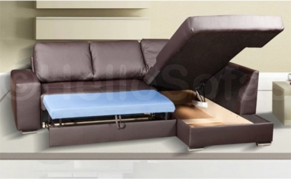 Cryptic Leather Corner Sofa Bed  Modern  Sofas  other metro