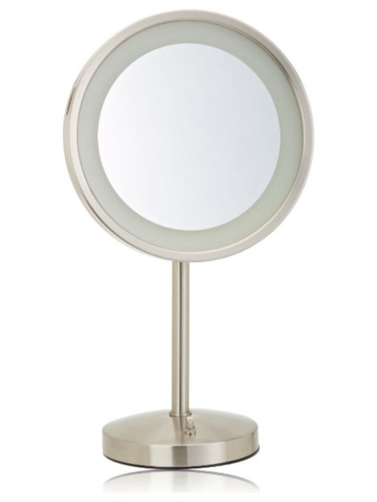 Jerdon HL1015NL 9.5-Inch Tabletop LED Halo Lighted Mirror with 5x Magnification - The Jerdon HL1015NL 9.5-Inch Tabletop LED Halo Lighted Mirror is an ideal bathroom and makeup accessory that provides lighting and magnification options to display a clean, bright reflection whenever you need it. LED bulbs are lined around the mirror to distribute light evenly. LED bulbs use less energy (2.5-watts), are good for the environment, remain cool to the touch and can last up to 60,000-hours. This circular mirror has a 9.5-inch diameter with 1x and 5x magnification options to make sure every detail of your hair and makeup are in place. The HL1015NL includes a discreet, built-in electrical outlet on its base that's ideal for plugging in curling irons, blow dryers and other appliances. The HL1015NL stands 17-inches high and has an on/off rotary knob on the back base will activate the lighting when you need it. This mirror stands upright on countertops, vanities and tables and has an attractive nickel finish that protects against moisture and condensation. The Jerdon HL1015NL 9.5-Inch Tabletop LED Halo Lighted Mirror comes with a 1-year limited warranty that protects against any defects due to faulty material or workmanship. The Jerdon Style company has earned a reputation for excellence in the beauty industry with its broad range of quality cosmetic mirrors (including vanity, lighted and wall mount mirrors), hair dryers and other styling appliances.