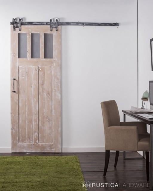 Vertical Slat Craftsman Barn Door w/ Glass Windows ...