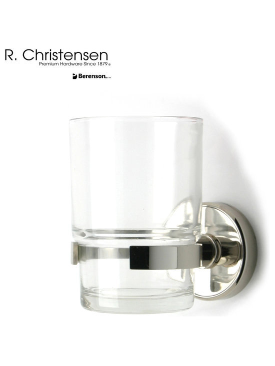 2216US14 Polished Nickel Tumbler Holder by R. Christensen - 3-1/2 inch long contemporary style tumbler holder by R. Christensen in Polished Nickel.