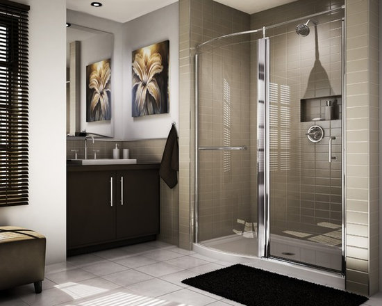 "Fleurco Banyo Sevilla Roman 57""-59"" Frameless Pivot Door with Curved Fixed Panel - Smooth hinge system makes opening easy"