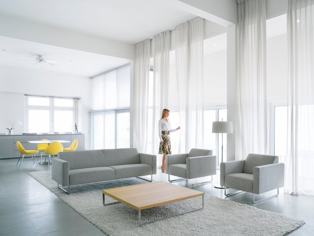 Spacious and bright family room modern-living-room