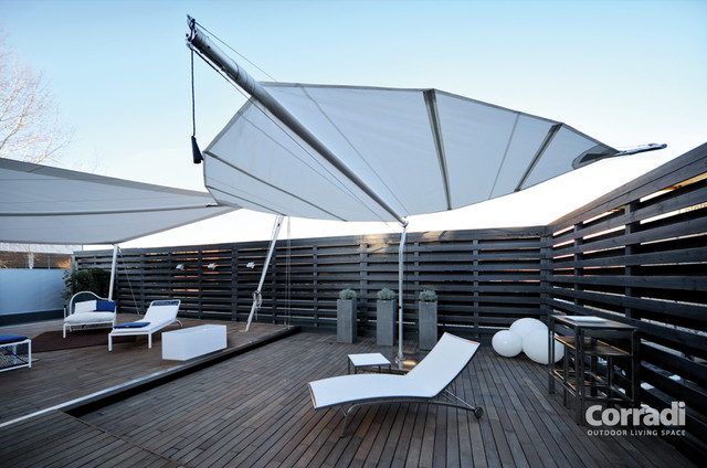 Retractable Shade Sail Contemporary Patio Other